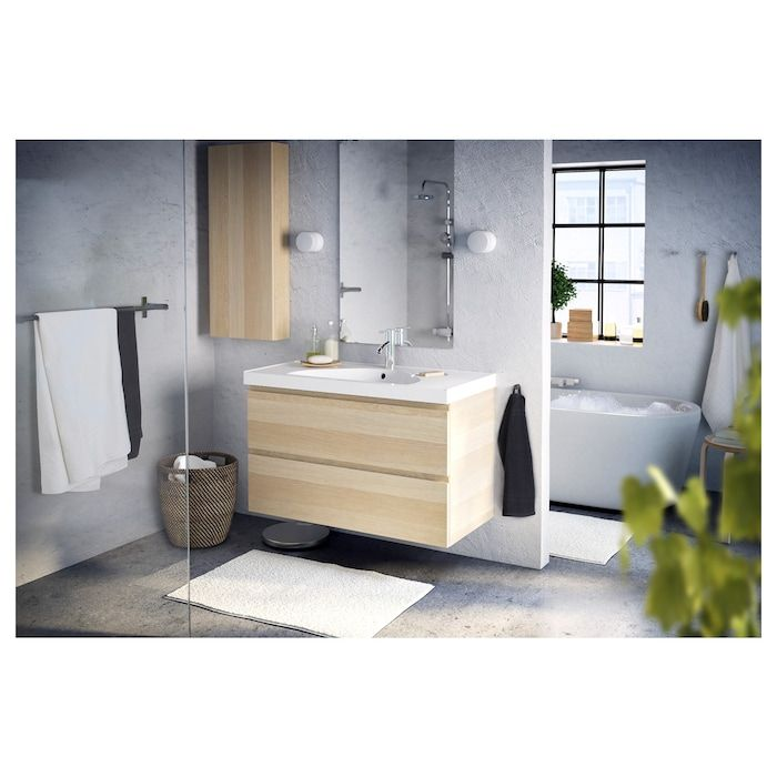 Godmorgon Wall Cabinet With 1 Door White Stained Oak White Stained Oak Effect 15 3 4x5 1 2x37 3 4 In 2020 Wall Cabinet Ikea Bathroom Vanity Bathroom Wall Tile