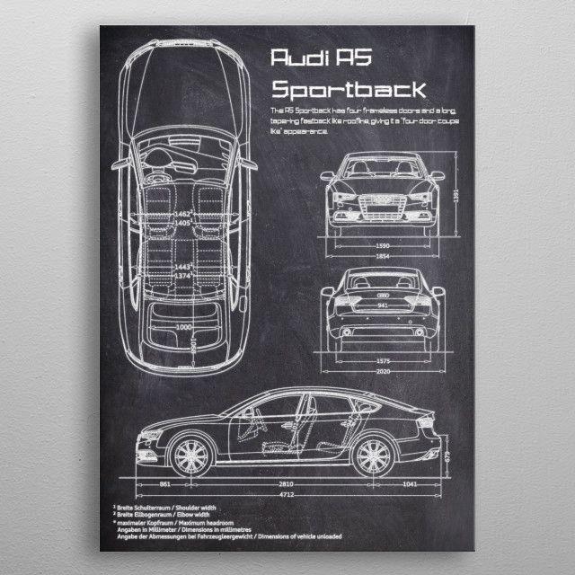 AUDI A5 SPORTBACK CHALK by FARKI15 DESIGN   metal posters
