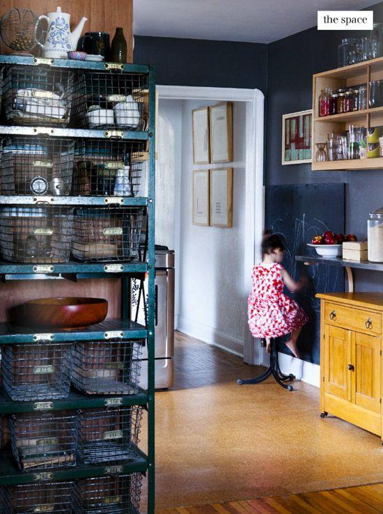 dark kitchen, open shelving, chalkboard