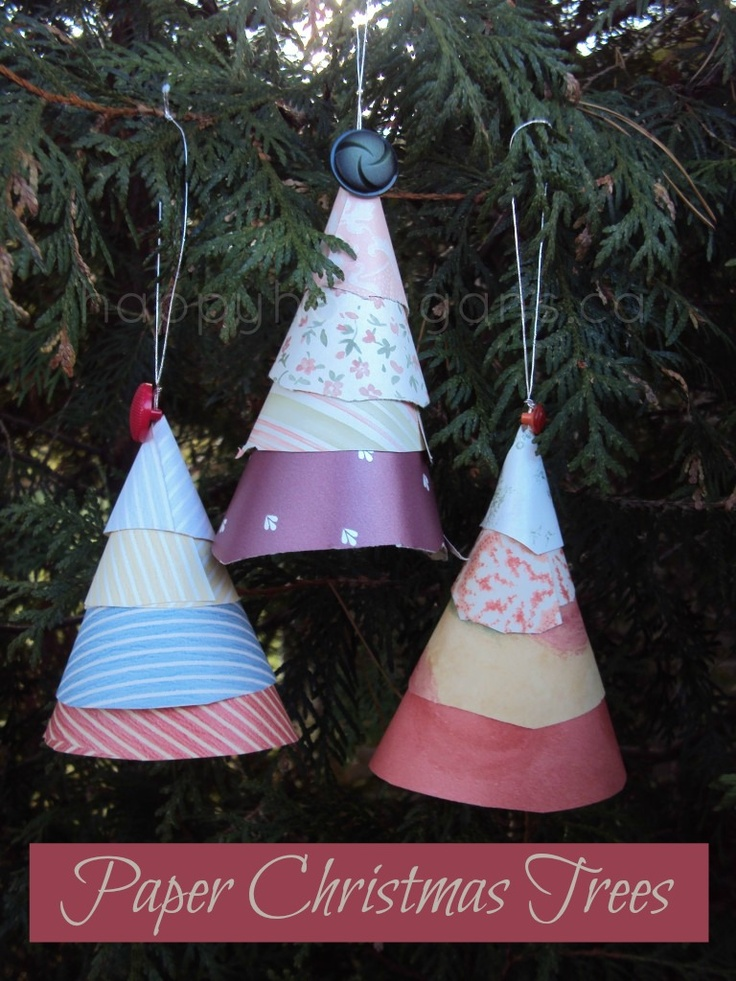 Paper cone christmas tree ornaments christmas trees for Cardboard cones for crafts