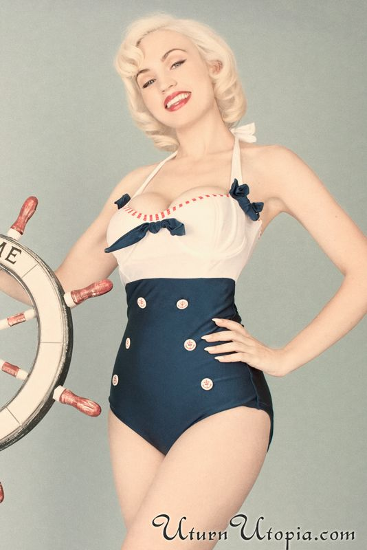 White, Blue & Red One Piece Sailor Swimsuit /Pin Up/Rockabilly