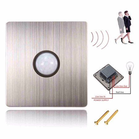 M.way IR Save Energy In Wall PIR Motion Sensor Light Switch Motion Sensor Detector Light Delay Switch 6-10m + 2 Screws