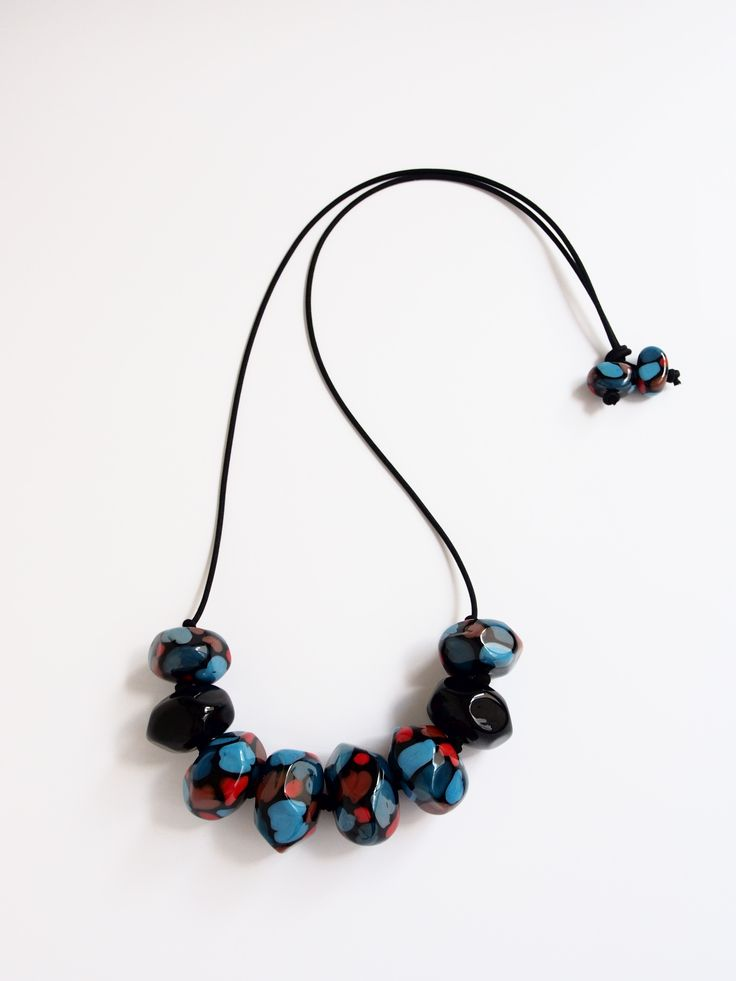 Avril Bowie - Sea - Abstract camouflage necklace - all handcrafted glass work