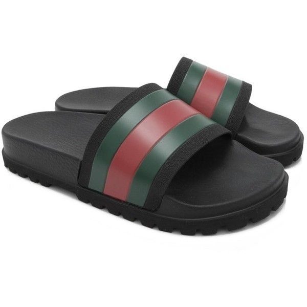 Pre-owned Gucci Web Slide Sandals ($280) ❤ liked on Polyvore featuring men's fashion, men's shoes, men's sandals, black, gucci mens shoes, mens black shoes, mens rubber sandals, mens black sandals and mens rubber shoes