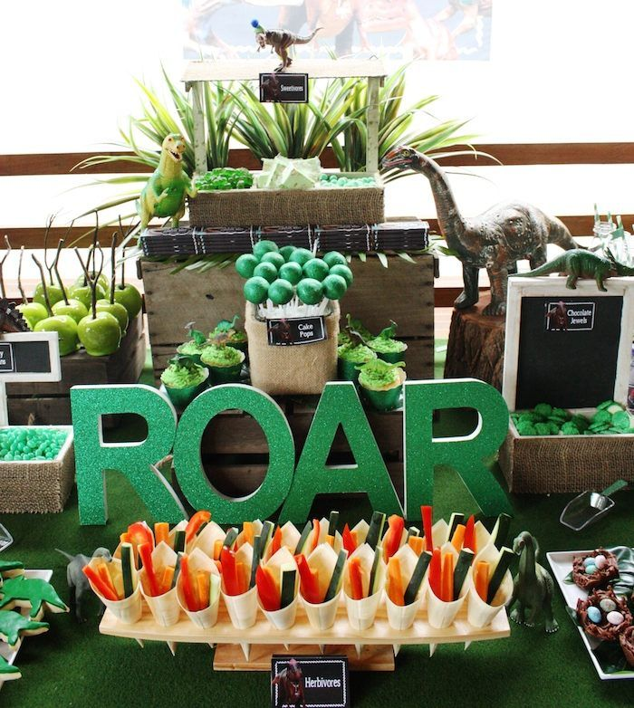 T rex dinosaur themed birthday party with so many awesome for Amusement park decoration games