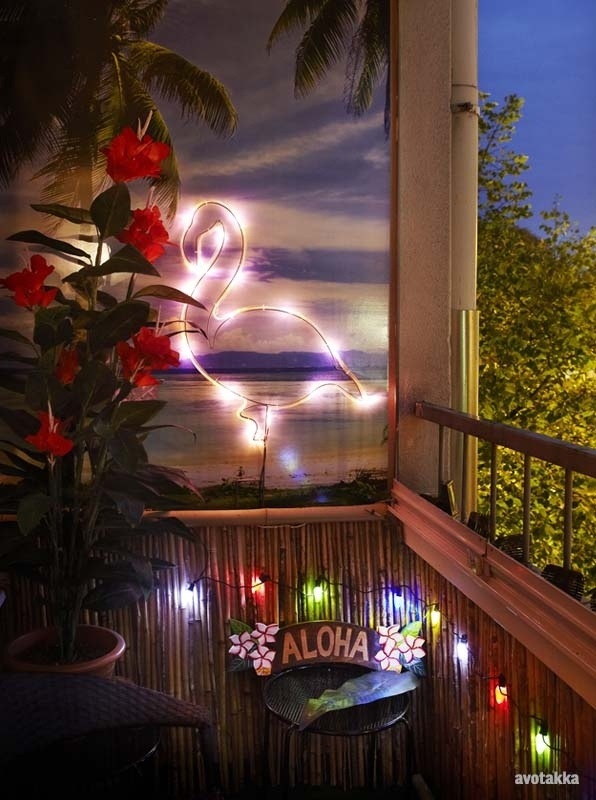 My tiki balcony in the night time.