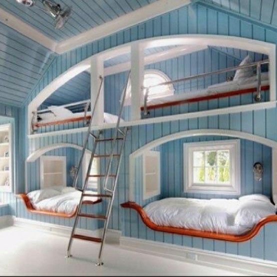 bedsLake Houses, Bunk Beds, Beach Houses, Kids Room, Kid Rooms, Bunk Rooms, Bedrooms, Guest Rooms, Bunkbeds