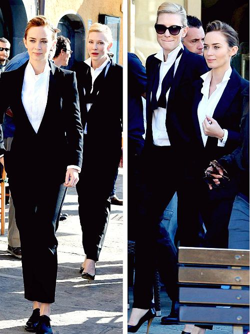 emily blunt and cate blanchett rocking some fabulous tuxes in portofino.