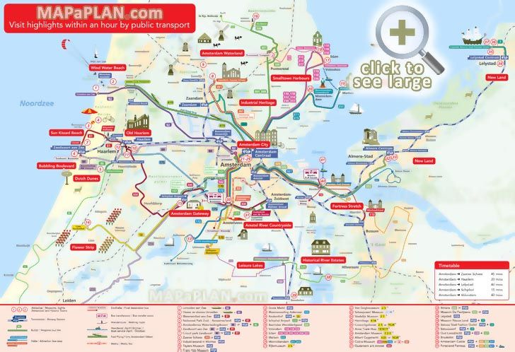 Favourite highlights within 1 hour in metropolitan area birds eye 3d aerial view Amsterdam top tourist attractions map