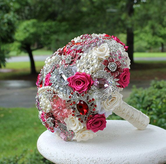 Pink and Red Wedding Brooch Bouquet. Deposit on by annasinclair