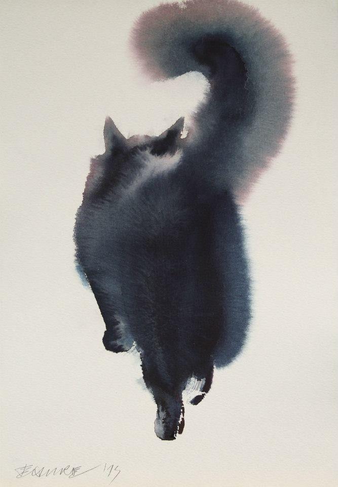 「とある方法」で描かれた猫の水彩画がとてつもないモフモフ感を醸し出していた