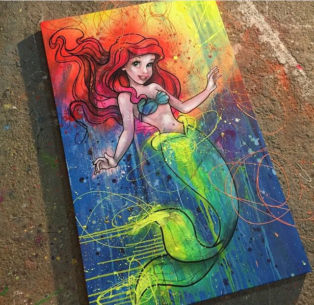 Little mermaid on canvas with neon paints by Shane sgstudiosinc.com