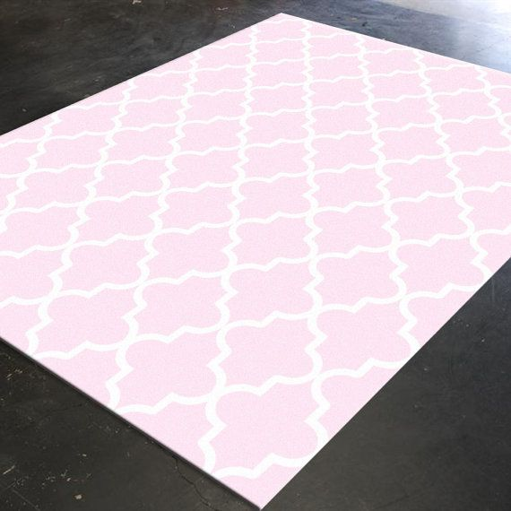 Trellis Rug Pink Decor Pink Rug Light Pink Decor by HawkerPeddler