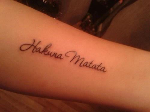 Hakuna Matata tattoo :) I love this font! Maybe... On my hip?