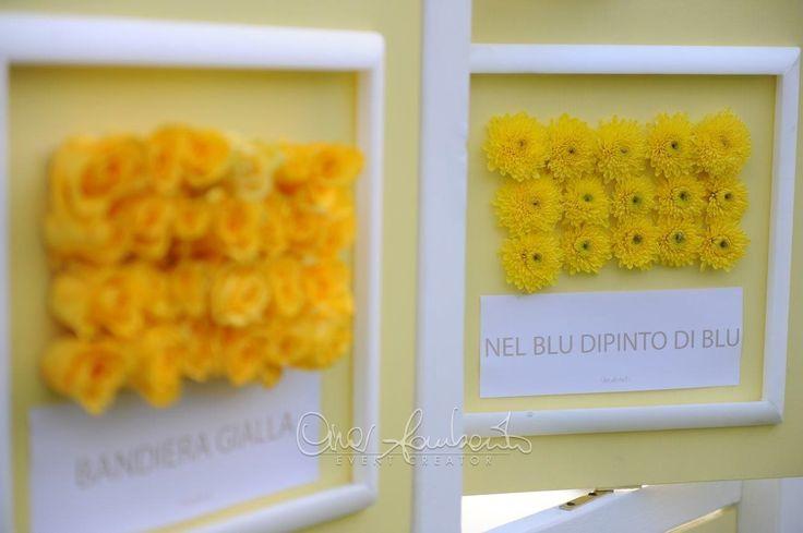 Tableau de mariage giallo per un matrimonio esuberante, fresco e giovanile, irradiato dai colori del sole. Giallo anche per il tema del tableau...