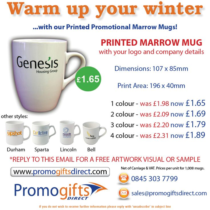 Promotional Printed Mugs ON SALE! - order today @ www.promogiftsdirect.com or contact us by phone 0845 303 7799 or by email: sales@promogiftsdirect.com
