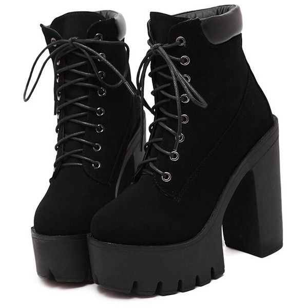 Black Chunky High Heel Hidden Platform Boots ($40) ❤ liked on Polyvore featuring shoes, boots, black, heels, short boots, chunky-heel boots, platform boots, lace-up platform boots and heel boots