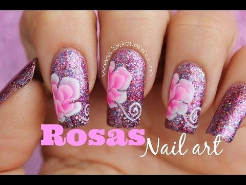 Decoración de uñas rosas en pinceladas - Rose one stroke nails - YouTube