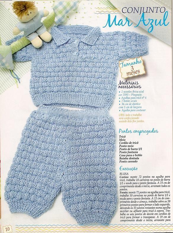 Receita de Tricô: Conjunto para bebê - receita