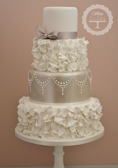 Romantic Ruffles Wedding Cake by Cotton and Crumbs