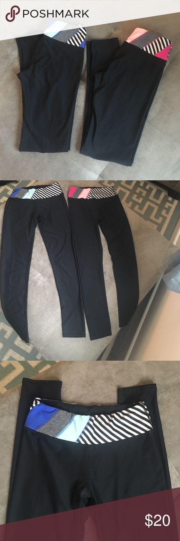 """Two very gently worn spandex pants. Two pairs of gently loved spandex pants. Full length. I am 5'5"""". Beautiful colored waistband. Flattering on the backside and very comfortable. True to size. RBX  Pants Leggings"""