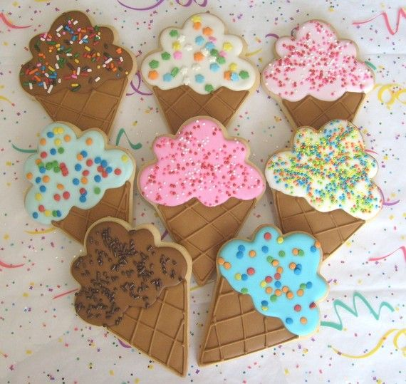 Ice Cream Cone Cookies  Favors  Large Ice Cream Cone by lorisplace