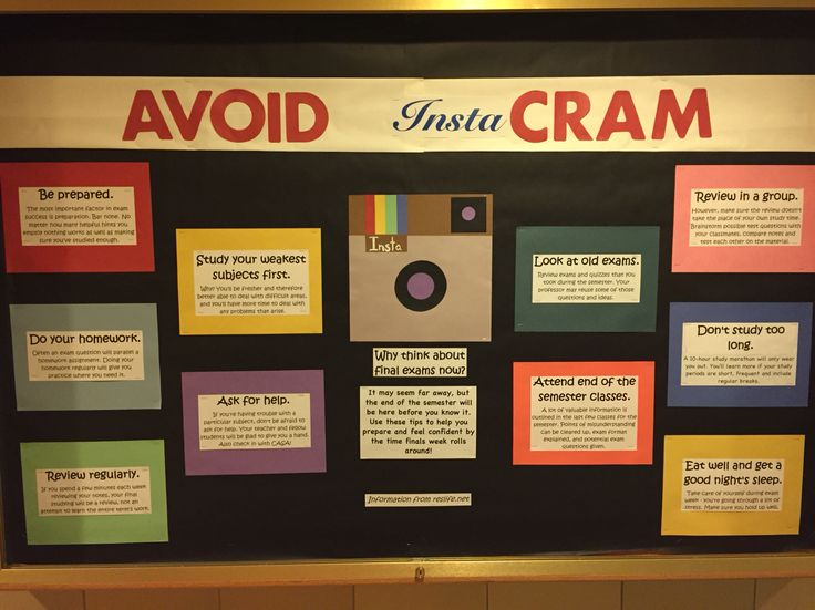 Avoid InstaCram - Instagram themed educational bulletin board on final exam study tips.  Info from reslife.net