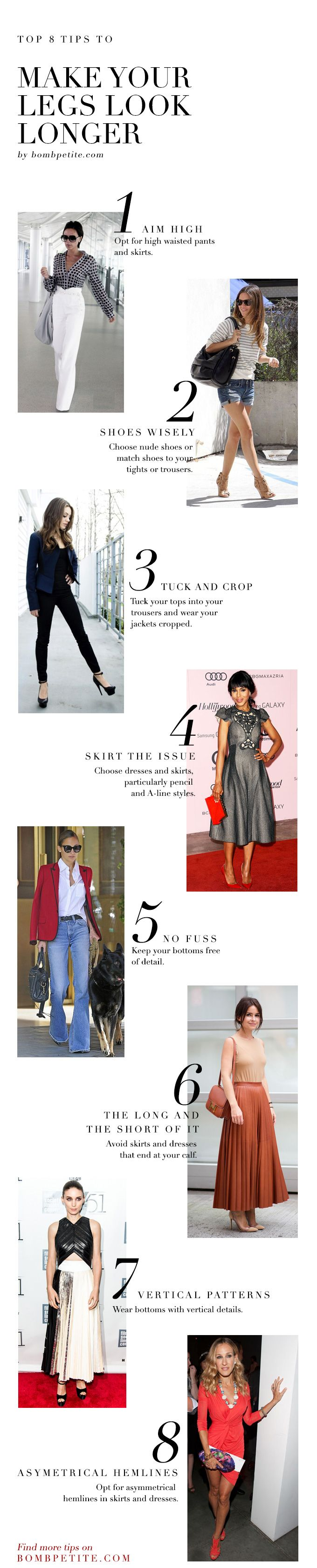 Top 8 Tips to Make your Legs look longer | Petite dresses, style tips, trends, designers, celebrities and beautiful clothing for petite women.The ultimate petite fashion resource. — BombPetite.com