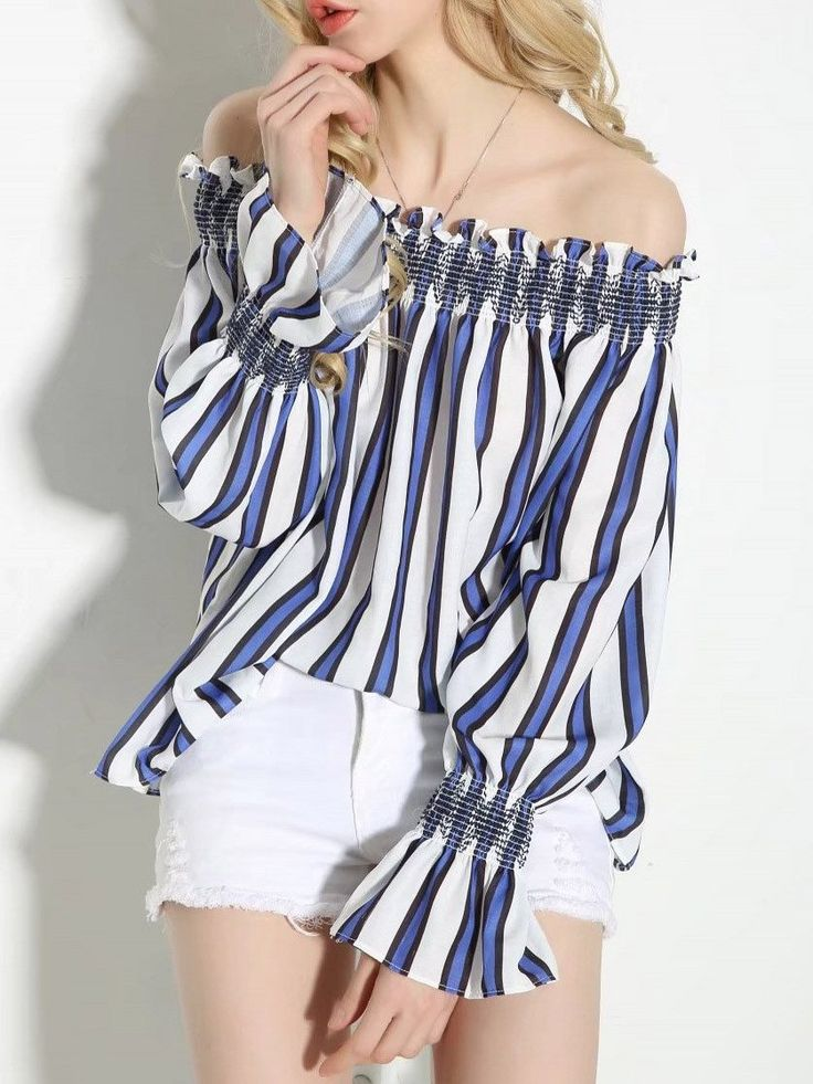 In Stock  Off Shoulder Long Sleeve Blouse Shirt Tops