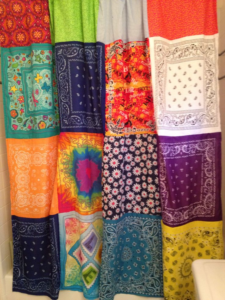 What to do with all the Girl Scout bandanas accumulated over the years? Make a shower curtain for my pre-teen!
