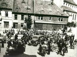 K.H.Frank capture by US soldiers and a policeman Czech Josef Ranc. 05/09/1945 Rokycany, Czech Republic.