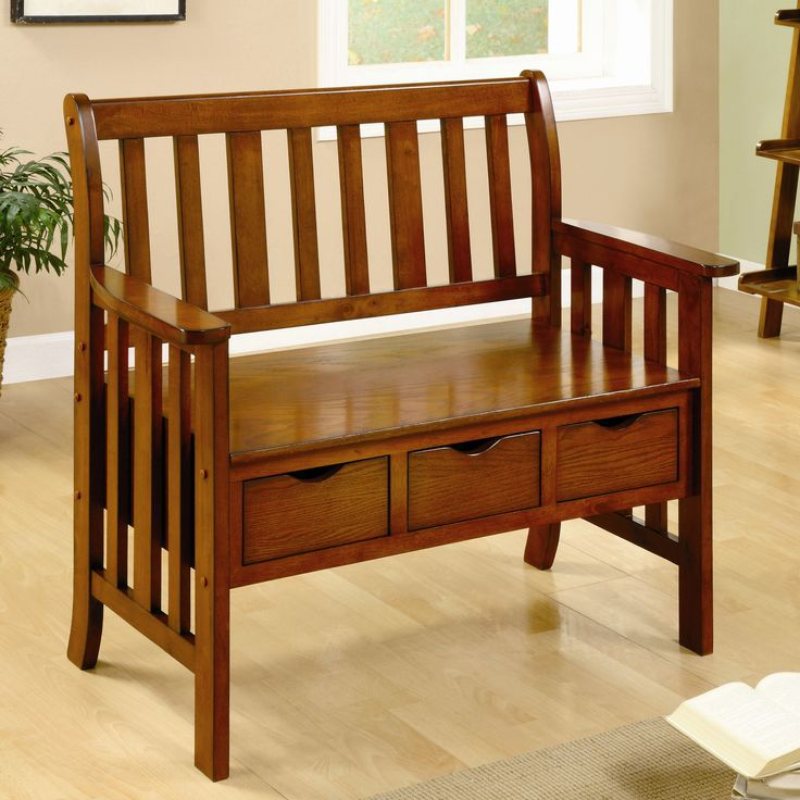 """Features:  -Three drawers for storage under the bench seat.  Bench Type: -Entryway bench.  Seat Material: -Wood.  Finish: -Oak. Dimensions:  -Bottom clearance: 10"""" H.  Overall Height - Top to Bottom:"""