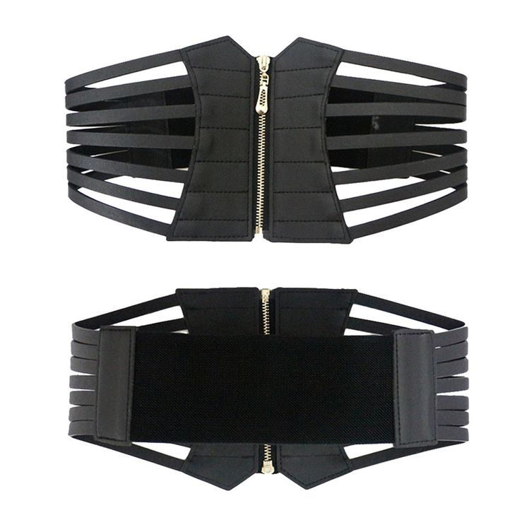 Sexy Women Corset Belt PU Leather Hollow Out Zip Elastic black - Tomtop.com