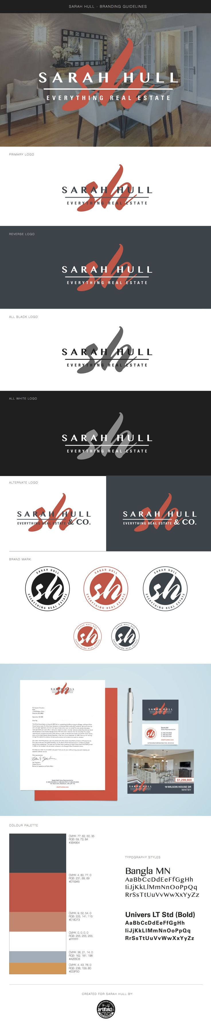 The completed branding guidelines we did for Sarah Hull.