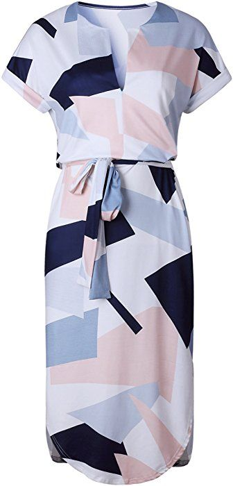 03cd051884b3 ECOWISH Womens Dresses Summer Casual V-Neck Floral Print Geometric Pattern  Belted Dress at Amazon Women s Clothing store