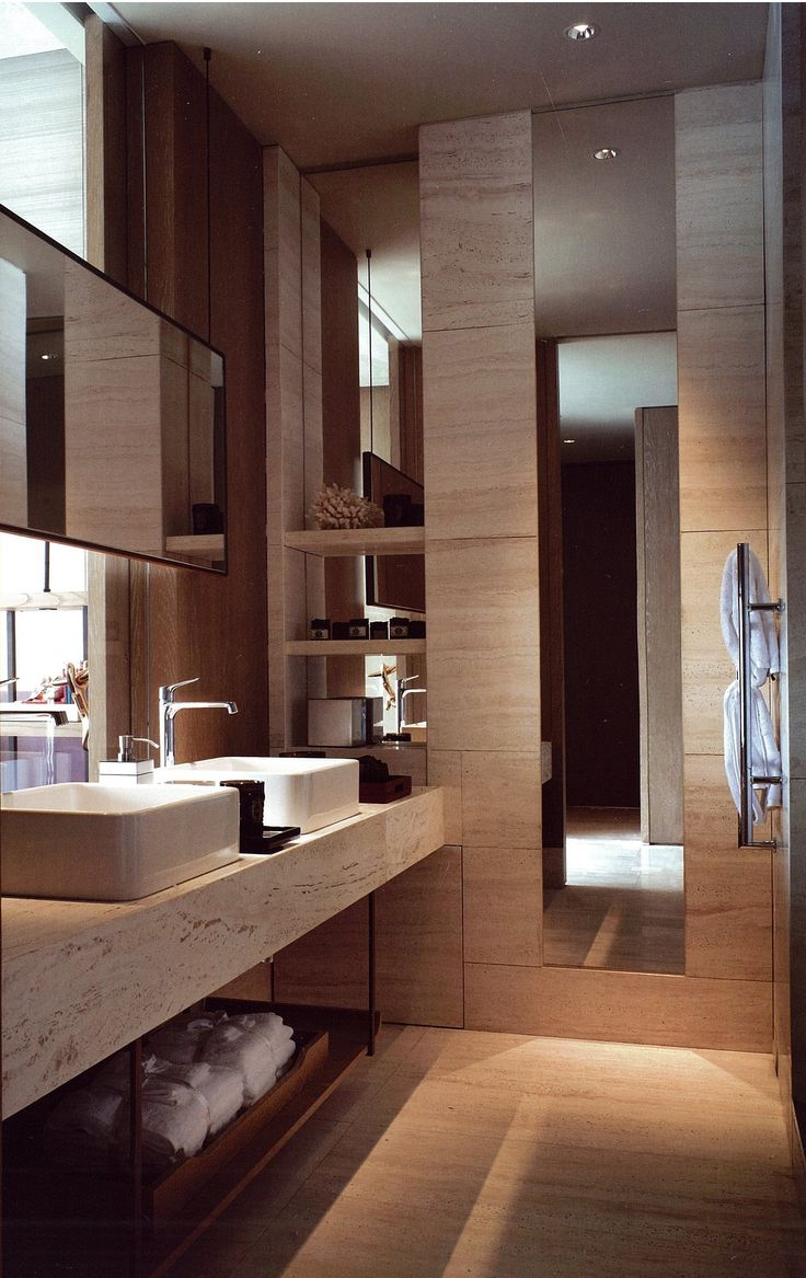 luxe details by AB Concept . Interior Design . Bathroom Inspiration . Nice use of mirror .