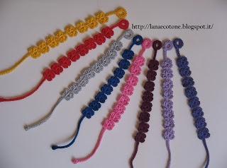 Lana e Cotone (maglia e uncinetto): Braccialetti e orecchini all'uncinetto.