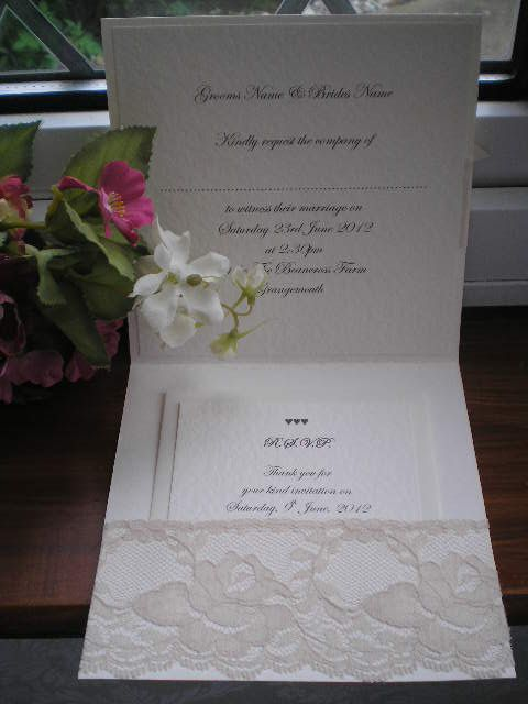 D0008 Victoriana Lace Pocketfold Wedding Invitation, Vintage Lace Wedding Cards