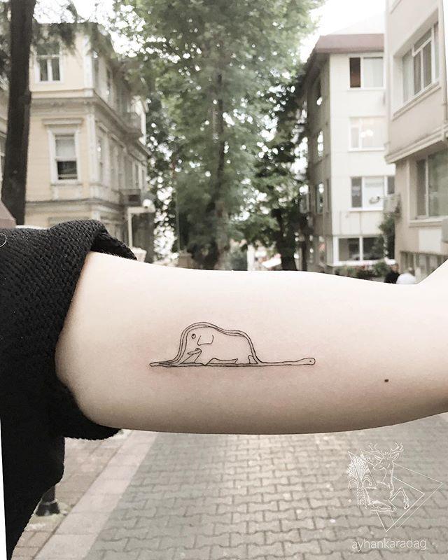 WEBSTA @ ayhankrdg - Le petit prince __________________#lepetitprince #lepetitprincetattoo #elephant #elephanttattoo #antoinedesaintexupéry #küçükprens #lineworktattoo #smalltattoo #minimaltattoo