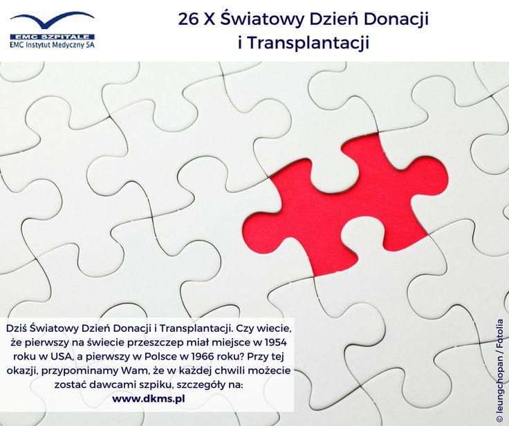 Dziś Światowy Dzień Donacji i Transplantacji. Czy wiecie, że pierwszy na świecie przeszczep miał miejsce w 1954 roku w USA, a pierwszy w Polsce w 1966 roku? Przy tej okazji, przypominamy Wam, że w każdej chwili możecie zostać dawcami szpiku.