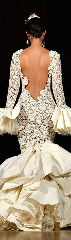 Juana Martin 2014- @LadyLuxeJewels. Spanish inspired white lace dress. Backless