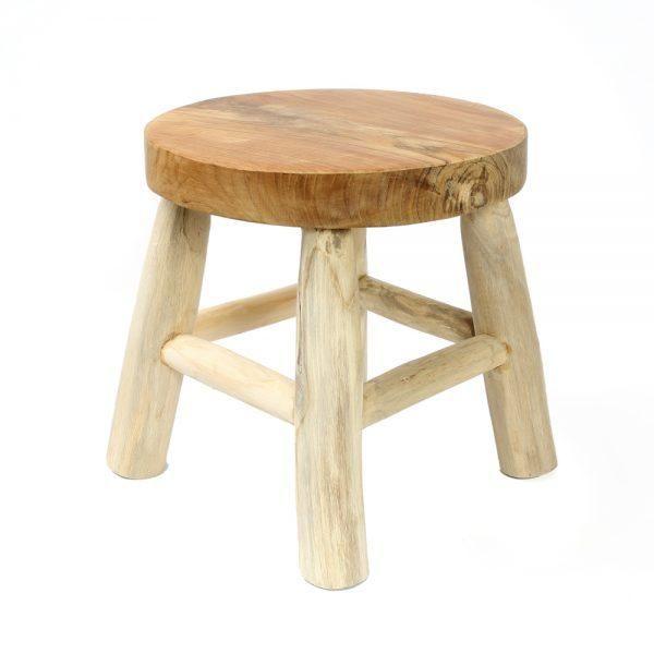 Kedut Stool Side Table Indoors Outdoors Natural Teak Wood