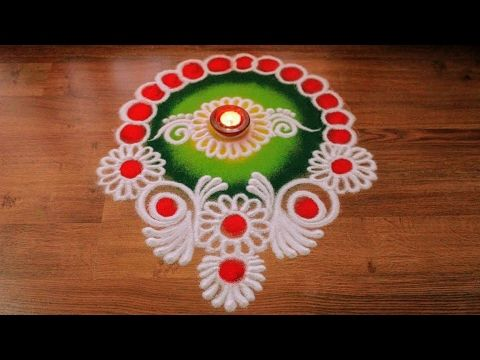 Free hand Diwali Rangoli Designs with Colours - YouTube