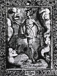 Figure representing 'The Spirit of Sulphur.' Engraving from Leonhard Thurneisser zum Thurn, Quinta essentia ... und Alchemia. Image A013417 from Images from the History of Medicine.