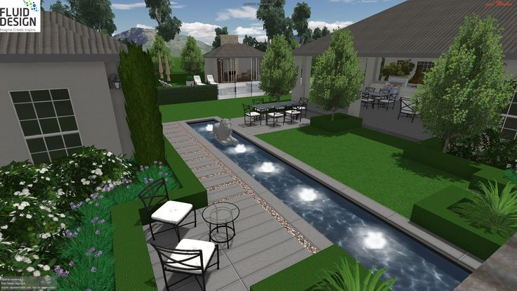 Garden courtyard w/ 10m reflection pond & sitting area w/ views to large alfresco area & pool beyond.