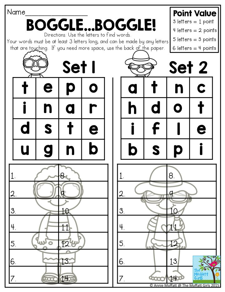 Boggle... Boggle!  Use the letters to find words.  Your words must be at least 3 letters long, and can be made by any letters that are touching.  One of many fun activities to keep your 2nd grade students practicing their spelling throughout the summer!  Summer Review NO PREP Packets!