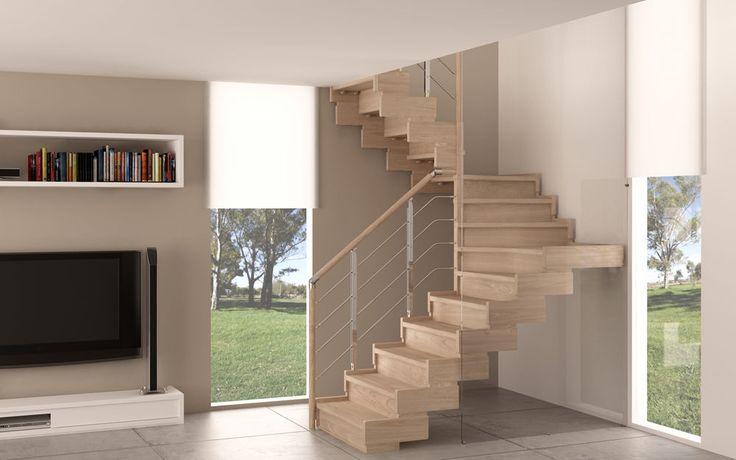escalier en colimaçon carré à limon latéral (structure et marches en bois) TRASFORMA DESIGN RINTAL