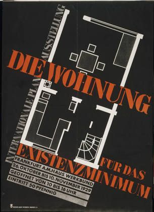 "Die Wohnung für das Existenzminimum (The Dwelling for Minimal Existence)  Hans Leistikow (German, 1892–1962)    Printer: Druckerei August Osterrieth, Frankfurt A.M. 1929. Offset lithograph, 46 x 33"" (116.8 x 84.0 cm). Gift of The Lauder Foundation, Leonard and Evelyn Lauder Fund"