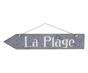 Plaque PLAYA bois de tanguile et bois d'acacia, bleu et blanc - 52*11