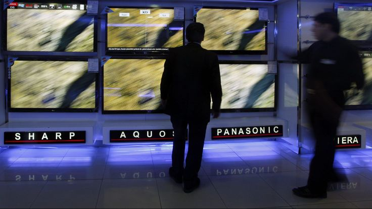 large screen televisions on display